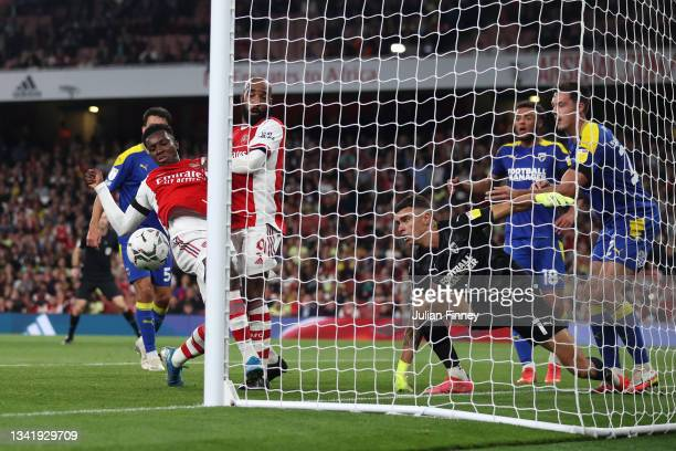 Eddie Nketiah of Arsenal misses a chance during the Carabao Cup Third Round match between Arsenal and AFC Wimbledon at Emirates Stadium on September...