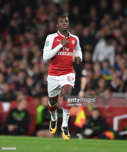 Eddie Nketiah of Arsenal runs on as a substitute during the Carabao Cup Fourth Round match between Arsenal and Norwich City at Emirates Stadium on...