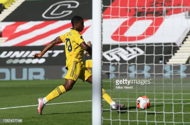 Eddie Nketiah of Arsenal scores his sides first goal during the Premier League match between Southampton FC and Arsenal FC at St Mary's Stadium on...