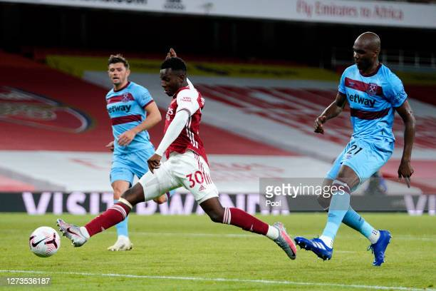 Eddie Nketiah of Arsenal scores his team's second goal during the Premier League match between Arsenal and West Ham United at Emirates Stadium on...