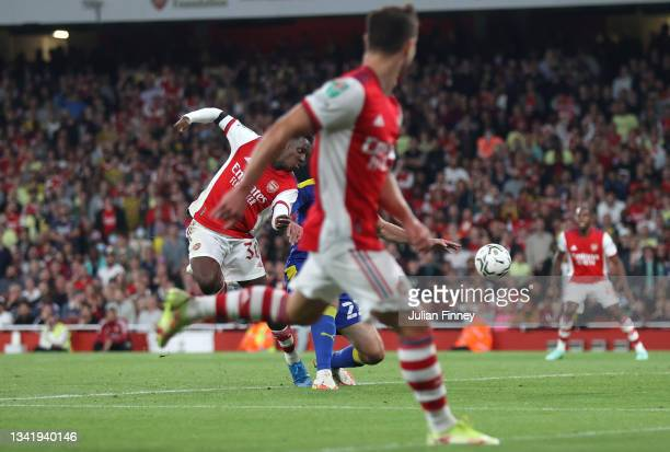 Eddie Nketiah of Arsenal scores their team's third goal during the Carabao Cup Third Round match between Arsenal and AFC Wimbledon at Emirates...