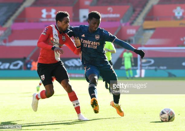 Eddie Nketiah of Arsenal shields the ball from Kyle Waker-Peters of Southampton during the FA Cup 4th round match between Southampton and Arsenal on...
