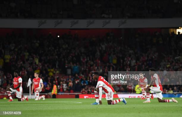 Eddie Nketiah of Arsenal takes a knee during the Carabao Cup Third Round match between Arsenal and AFC Wimbledon at Emirates Stadium on September 22,...