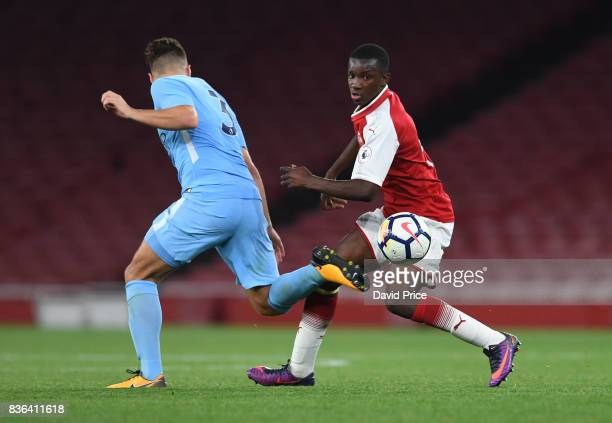 Eddie Nketiah of Arsenal takes on Charlie Olivier of Manchester City during the match between Arsenal U23 and Manchester City U23 at Emirates Stadium...