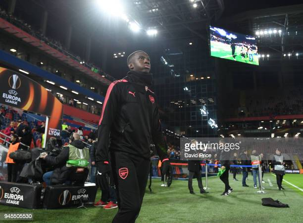 Eddie Nketiah of Arsenal walks out for the warm up before the UEFA Europa League quarter final leg two match between CSKA Moskva and Arsenal FC at on...