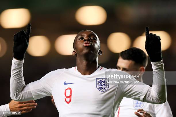 Eddie Nketiah of England celebrates after scoring a goal to make it 3-0 during the UEFA Under 21 Championship Qualifier between England and Austria...