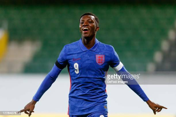 Eddie Nketiah of England celebrates after scoring his first goal during the UEFA Euro Under 21 Qualifier match between Austria U21 and England U21 at...
