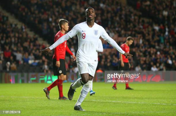 Eddie Nketiah of England celebrates after scoring his team's fifth goal during the UEFA Under 21 Championship Qualifier between England and Austria...