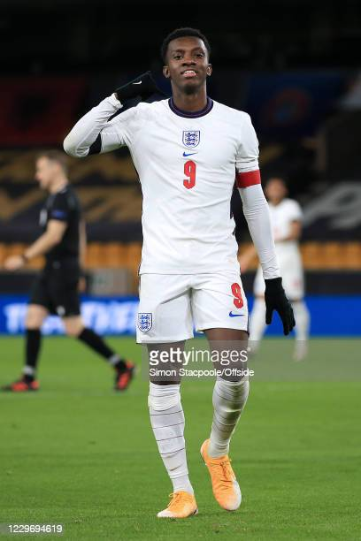 Eddie Nketiah of England celebrates after scoring their 4th goal during the UEFA Euro Under 21 Qualifier match between England U21 and Albania U21 at...