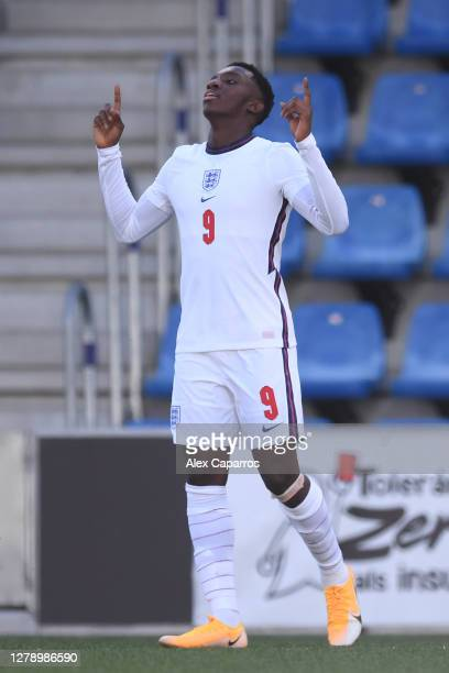Eddie Nketiah of England celebrates scoring the 3rd England goal during the UEFA Euro U21 Qualifier between Andorra U21 and England U21 at Estadi...