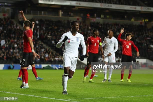 Eddie Nketiah of England celebrates scoring their 2nd goal during the UEFA Under 21 Championship Qualifier between England and Austria at Stadium mk...