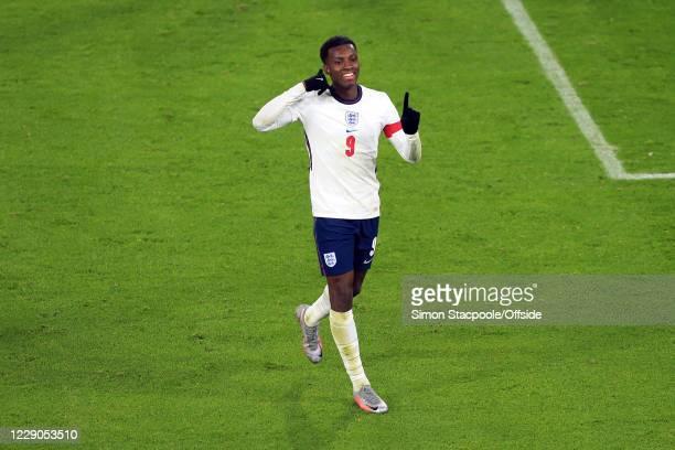 Eddie Nketiah of England celebrates scoring their 2nd goal during the UEFA Euro Under 21 Qualifier match between England U21 and Turkey U21 at...