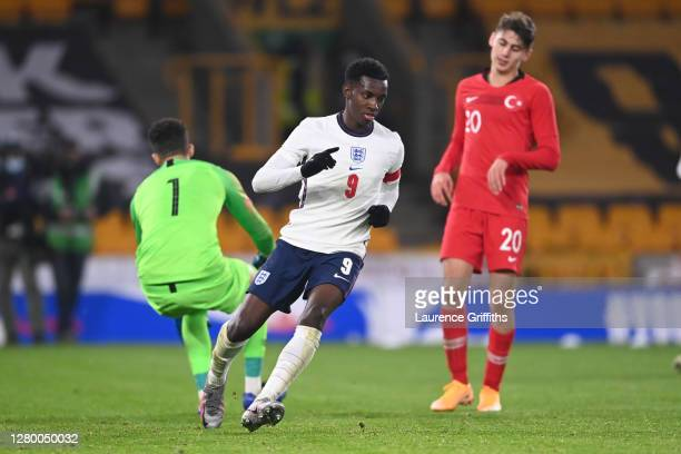 Eddie Nketiah of England celebrates scoring to make it 2-0 during the UEFA Euro Under 21 Qualifier match between England U21 and Turkey U21 at...