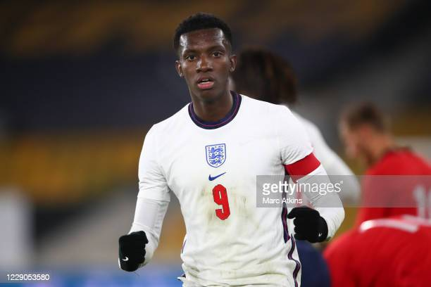 Eddie Nketiah of England celebrates the win during the UEFA Euro Under 21 Qualifier match between England U21 and Turkey U21 at Molineux on October...