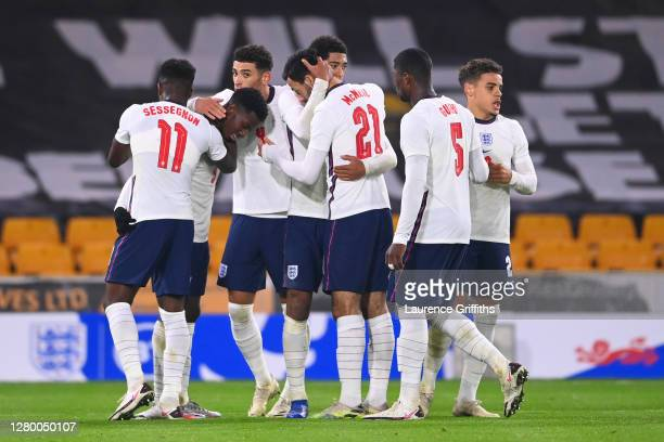 Eddie Nketiah of England celebrates with team mates after making it 2-0 during the UEFA Euro Under 21 Qualifier match between England U21 and Turkey...