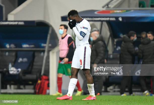 Eddie Nketiah of England looks dejected following the 2021 UEFA European Under-21 Championship Group D match between Portugal and England at Stadion...