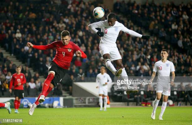 Eddie Nketiah of England scores his team's third goal during the UEFA Under 21 Championship Qualifier between England and Austria at Stadium mk on...