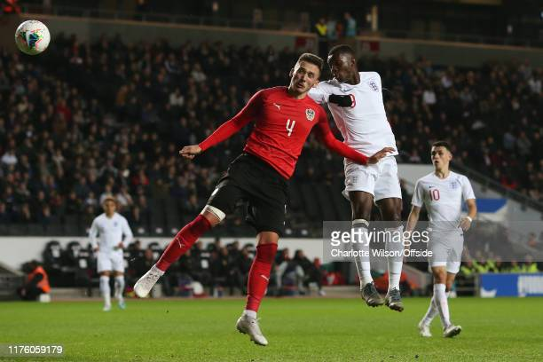 Eddie Nketiah of England scores their 3rd goal during the UEFA Under 21 Championship Qualifier between England and Austria at Stadium mk on October...