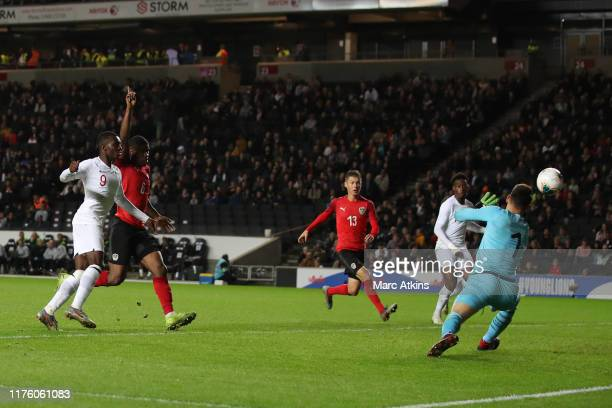 Eddie Nketiah of England scores their 5th goal during the UEFA Under 21 Championship Qualifier between England and Austria at Stadium mk on October...