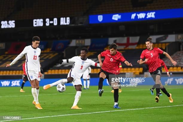 Eddie Nketiah of England scores their team's fourth goal during the UEFA Euro Under 21 Qualifier match between England U21 and Albania U21 at...