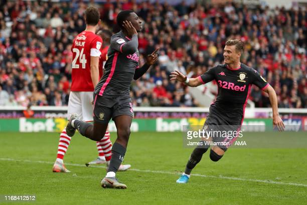 Eddie Nketiah of Leeds United celebrates after scoring a goal to make it 0-1 during the Sky Bet Championship match between Barnsley and Leeds United...