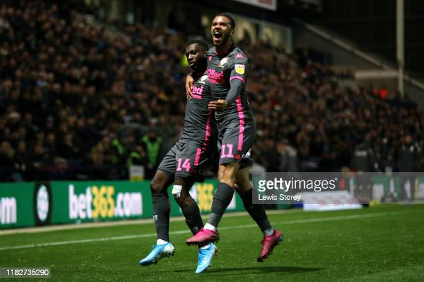 Eddie Nketiah of Leeds United celebrates scoring his sides first goal during the Sky Bet Championship match between Preston North End and Leeds...