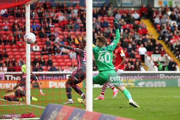 Eddie Nketiah of Leeds United scores a goal to make it 0-1 during the Sky Bet Championship match between Barnsley and Leeds United at Oakwell Stadium...