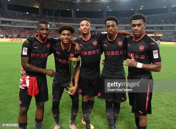 Eddie Nketiah Reiss Nelson Cohen Bramall Joe Willock and Alex Iwobi of Arsenal after a pre season friendly between Bayern Munich and Arsenal at...