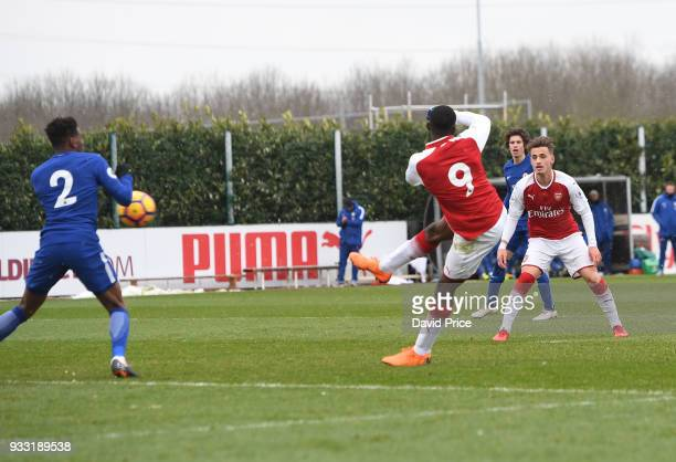 Eddie Nketiah scores Arsenal's 1st goal during the match between Arsenal U23 and Chelsea U23 at London Colney on March 17 2018 in St Albans England