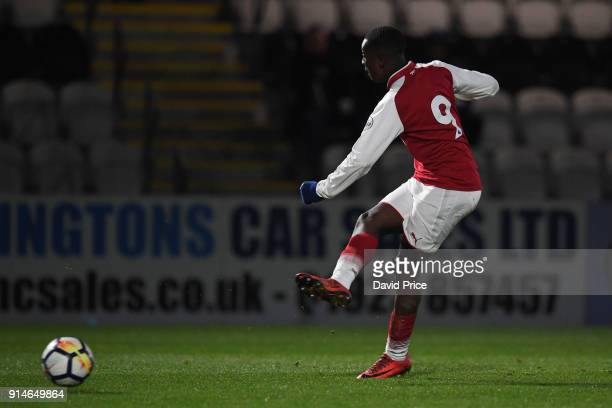 Eddie Nketiah scores Arsenal's 3rd goal his 2nd during the Premier League 2 match between Arsenal and Everton at Meadow Park on February 5 2018 in...