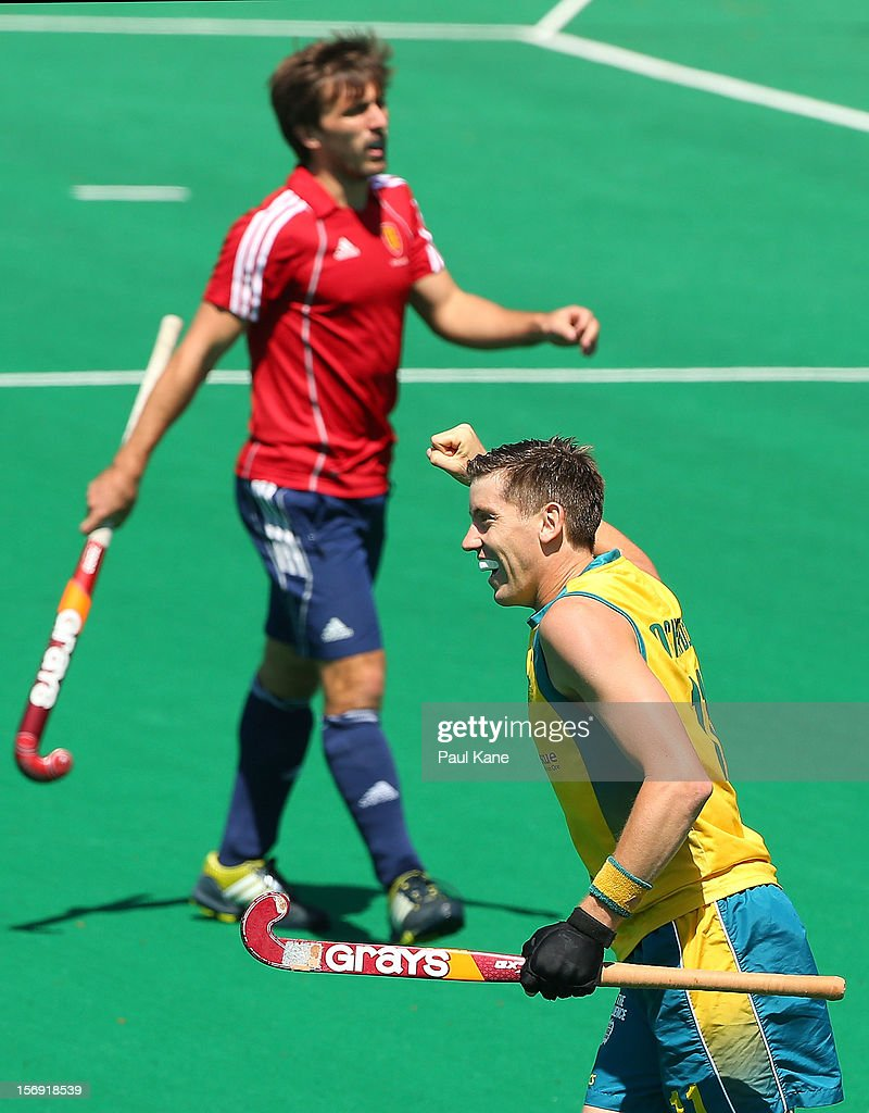 Eddie Ockenden of the Kookaburras celebrates a goal in the gold medal match between the Australian Kookaburras and England during day four of the 2012 International Super Series at Perth Hockey Stadium on November 25, 2012 in Perth, Australia.
