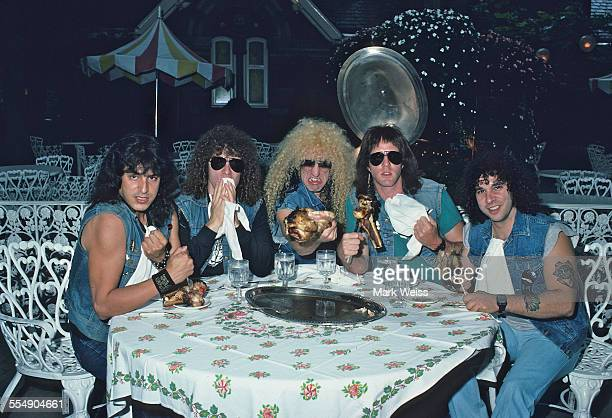 Eddie Ojeda Mark Mendoza Dee Snider Jay Jay French and AJ Pero of Twisted Sister at Tavern on the Green New York United States 1984