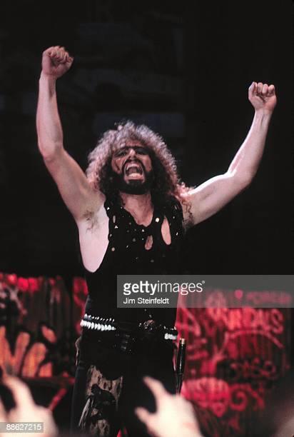 Eddie Ojeda of Twisted Sister performs in Minnesota in 1986