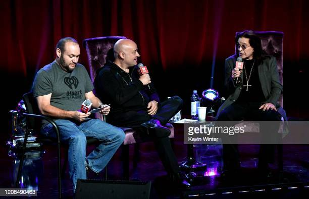 Eddie Pappani, David Draiman and Ozzy Osbourne speak onstage at iHeartRadio ICONS with Ozzy Osbourne: In Celebration of Ordinary Man at iHeartRadio...