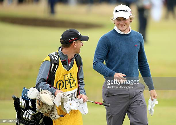 Eddie Pepperell of England and caddie Jamie Herbert walk on the 16th hole during the third round of the 144th Open Championship at The Old Course on...