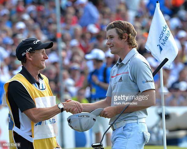 Eddie Pepperell of England finishes his final round during the final round of the Nordea Masters at the PGA Sweden National on June 1 2014 in Malmo...