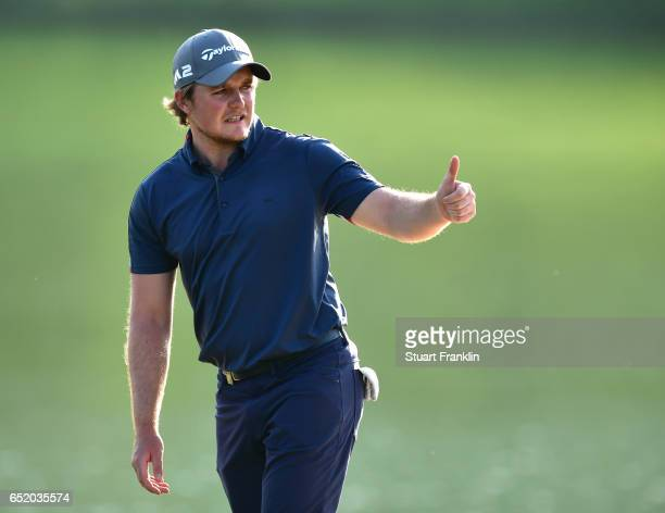Eddie Pepperell of England gives the thumbs up during the third round of the Hero Indian Open at Dlf Golf and Country Club on March 11 2017 in New...