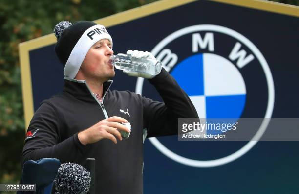 Eddie Pepperell of England has a drink on the 5th tee during Day Three of the BMW PGA Championship at Wentworth Golf Club on October 10 2020 in...