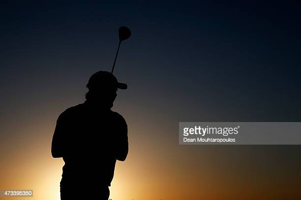 Eddie Pepperell of England hits a practice shot on the driving range prior to Day 2 of the Open de Espana held at Real Club de Golf el Prat on May 15...