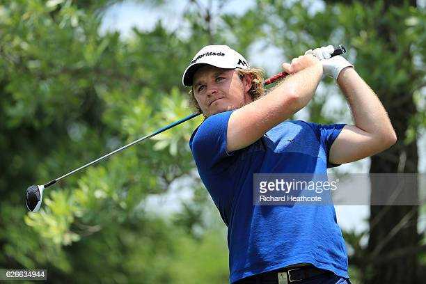 Eddie Pepperell of England hits a shot during previews for the Alfred Dunhill Championship at Leopard Creek Country Golf Club on November 30 2016 in...
