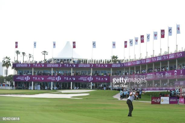 Eddie Pepperell of England hits an approach shot on the 18th hole during the final round of the Commercial Bank Qatar Masters at Doha Golf Club on...