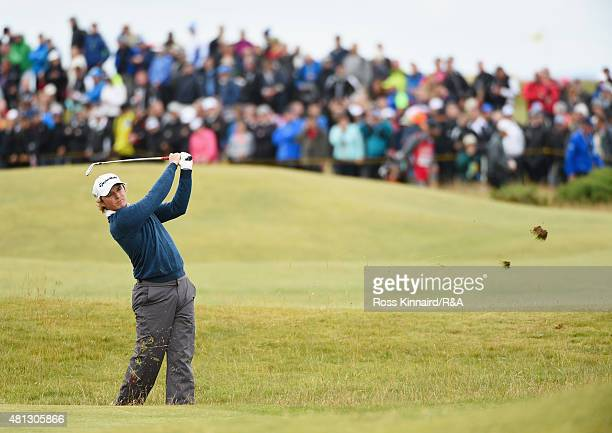 Eddie Pepperell of England hits his second shot on the 16th hole during the third round of the 144th Open Championship at The Old Course on July 19...