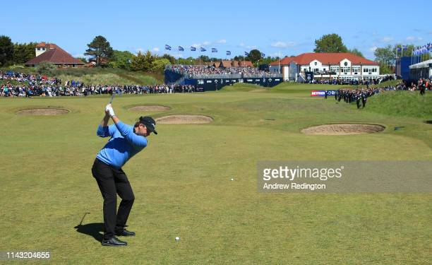 Eddie Pepperell of England hits his second shot on the 18th hole during day four of the Betfred British Masters at Hillside Golf Club on May 12 2019...