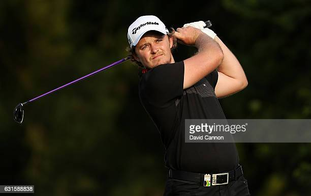Eddie Pepperell of England hits his tee shot on the 1st hole during day two of The BMW South African Open Championship at Glendower Golf Club on...