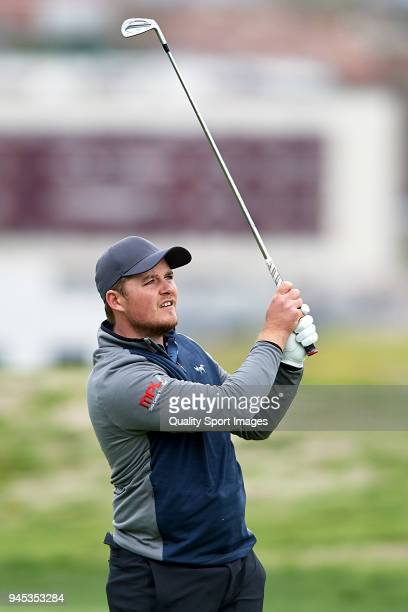 Eddie Pepperell of England in action during day one of Open de Espana at Centro Nacional de Golf on April 12 2018 in Madrid Spain