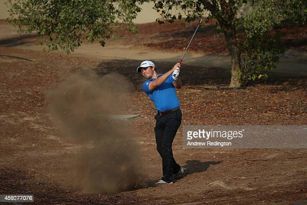Eddie Pepperell of England in action during the first round of the DP World Tour Championship at Jumeirah Golf Estates on November 20 2014 in Dubai...