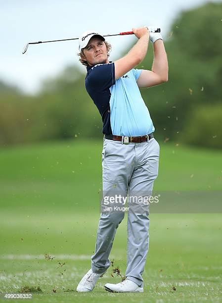 Eddie Pepperell of England in action on the 2nd during day three of the Alfred Dunhill Championship at Leopard Creek Country Golf Club on November 28...