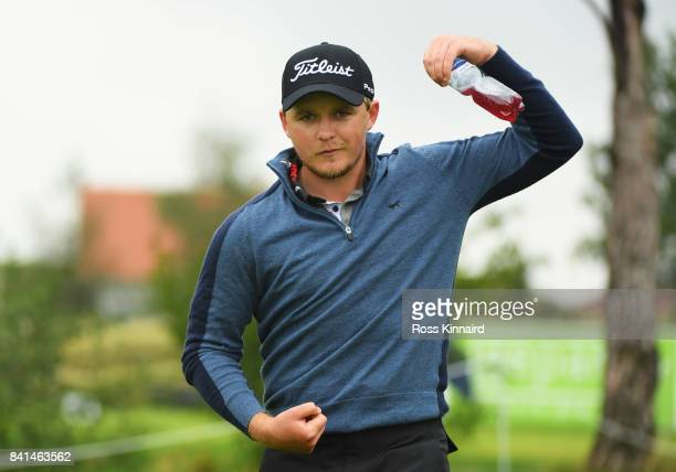 Eddie Pepperell of England jokes on the 10th tee during day two of the DD REAL Czech Masters at Albatross Golf Resort on September 1 2017 in Prague...
