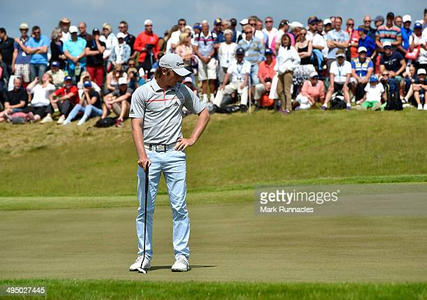 Eddie Pepperell of England looks on at the 1st green during the Nordea Masters at the PGA Sweden National on June 1 2014 in Malmo Sweden
