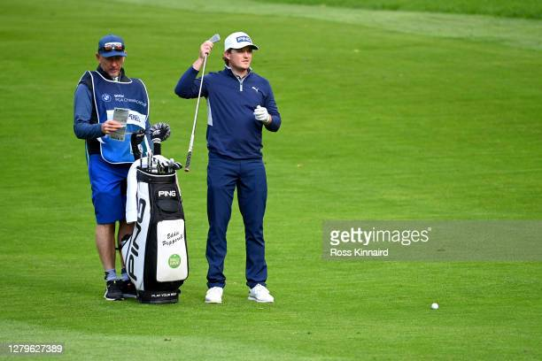 Eddie Pepperell of England looks on during Day Four of the BMW PGA Championship at Wentworth Golf Club on October 11 2020 in Virginia Water England